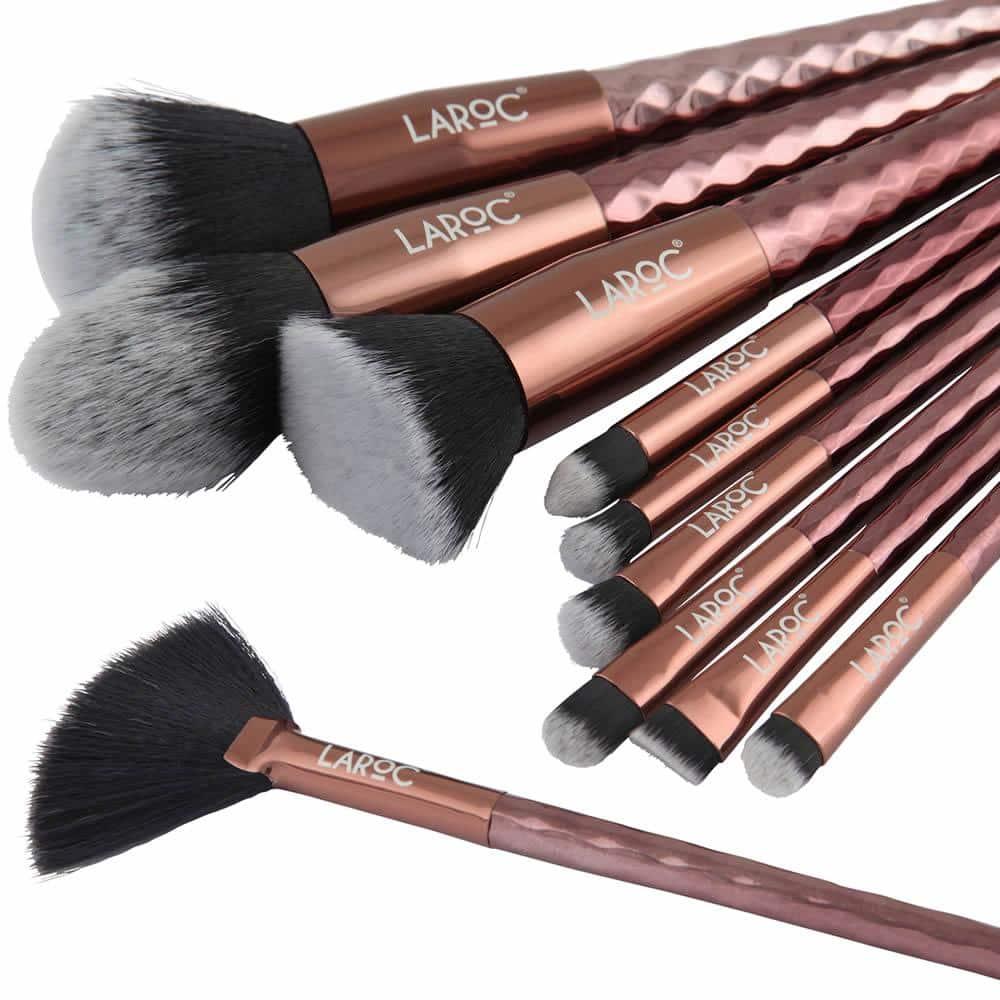 LaRoc 10 Piece Diamond Makeup Brush Set - Bronze 2