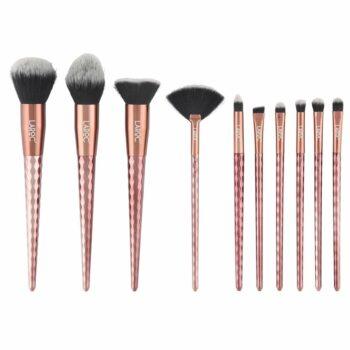 LaRoc 10 Piece Diamond Makeup Brush Set - Bronze