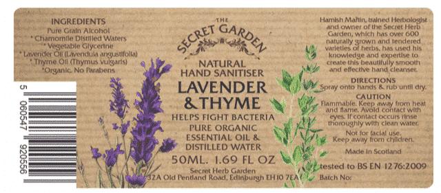 The Secret Garden Lavender & Thyme Hand Sanitiser 50ml Label